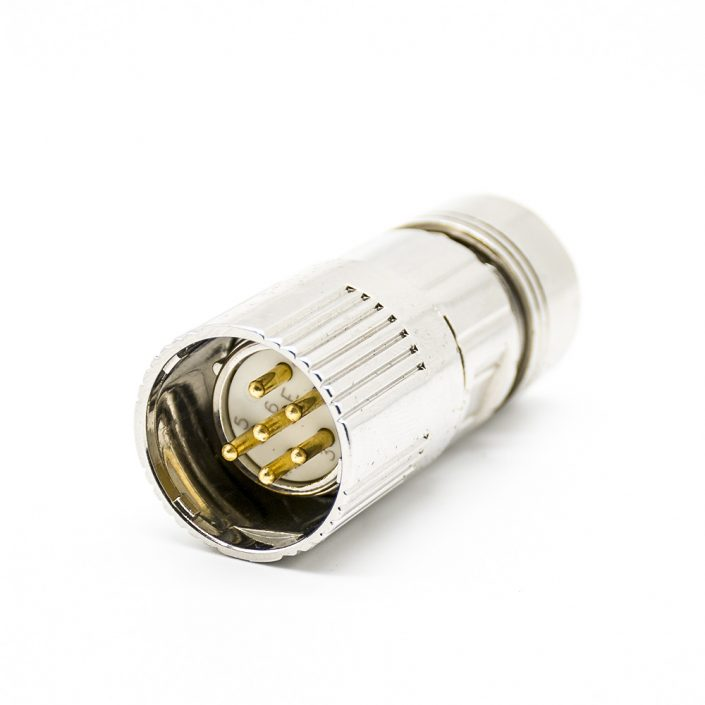 M23 6芯公插头直式接线焊线带屏蔽连接器