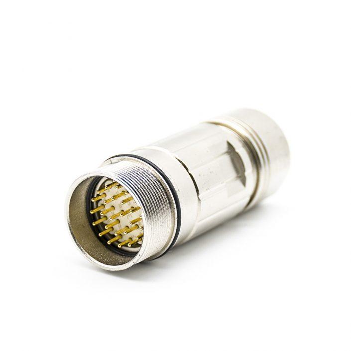 圆形插头M23 26芯公针插头直式焊线带屏蔽