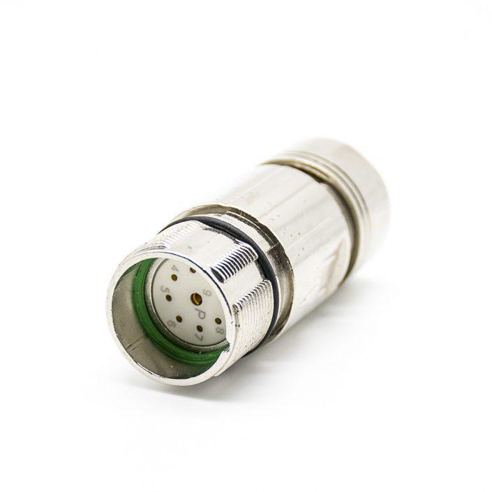 M23 9芯孔公插头直式焊线带屏蔽