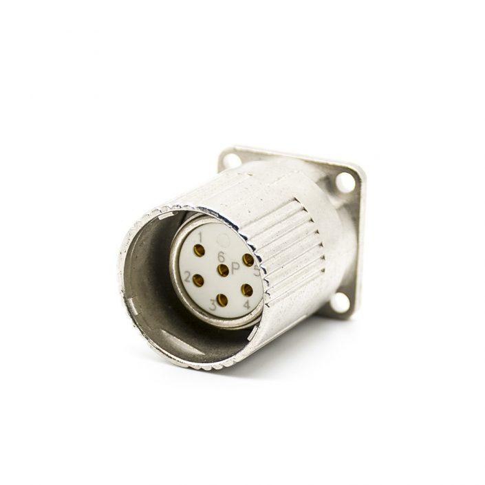 6芯插座M23母插座面板安装四孔法兰直式带屏蔽
