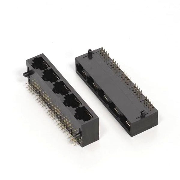 RJ45插座引脚1X5以太网塑料不带灯非屏蔽母头连接器