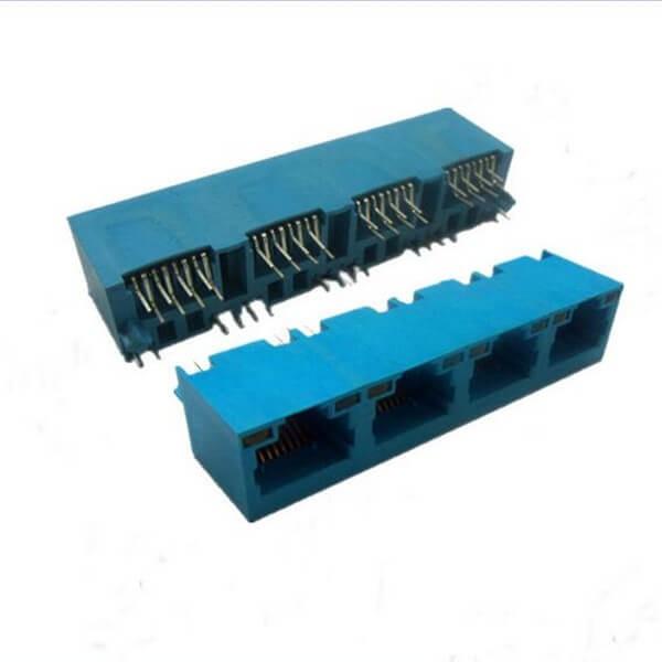 1*4四联口RJ45立式网络插座8P8C蓝色