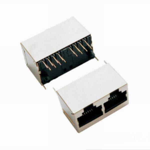 立插式1*2RJ45JACK180度双口网络插座带屏蔽
