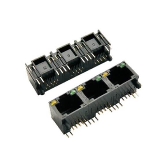 RJ45带灯全塑3连体1*3带灯非屏蔽网络插座8P8C