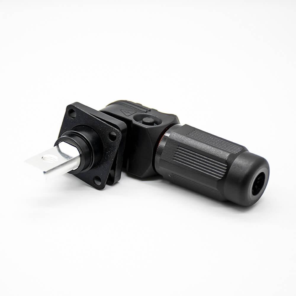 防水连接器单芯弯式插头插座12mm 300A带孔铜牌黑色IP65塑料防水