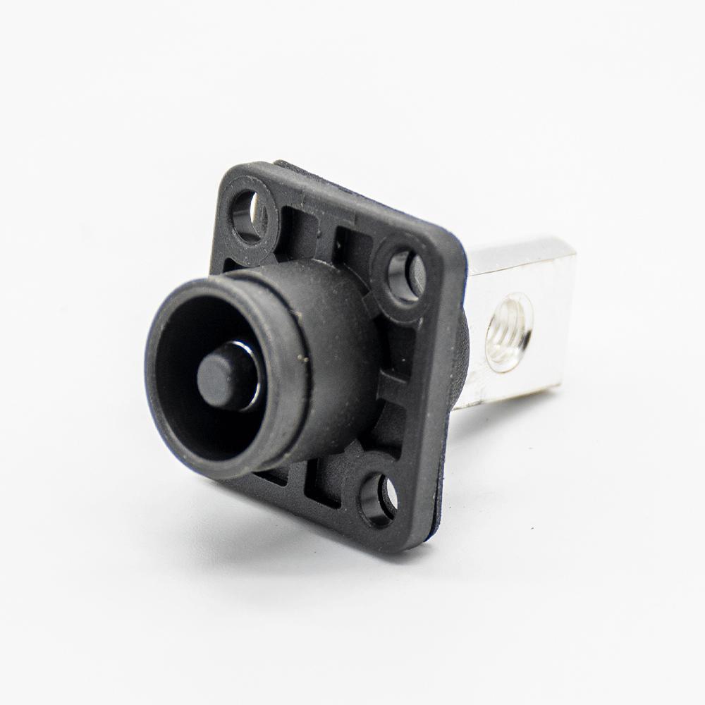 高压大电流连接器12mm黑色IP65 350A带孔铜牌弯式插头插座一套