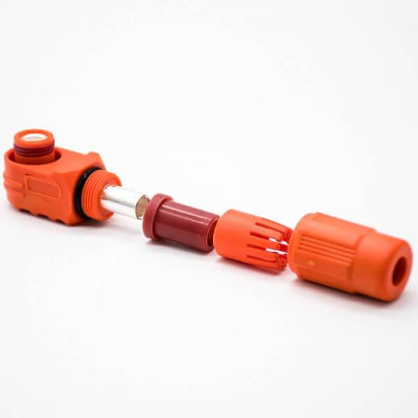 大电流防水连接器弯式IP65插头插座12mm橙色250A储能连接器