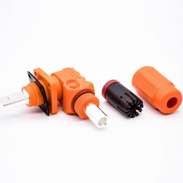 储能电池连接器IP65防水弯式插头插座12mm橙色350A大电流连接器