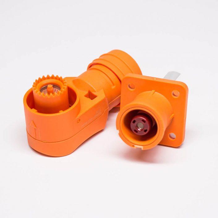 储能连接器IP54防水12mm橙色弯式插头插座350A铜牌连接