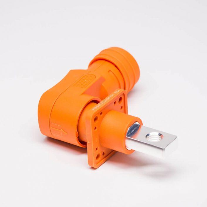 防水大电流连接器12mm橙色弯式IP54插头插座对接款300A