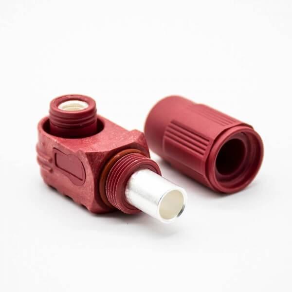 储能高压连接器弯式插头和插座12mm红色IP65 300A大电流连接器