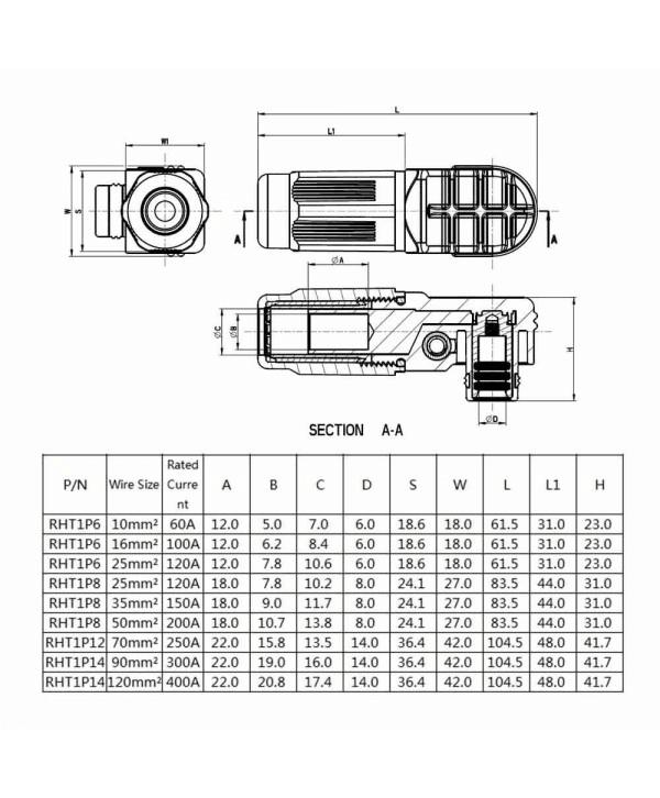 电池储能连接器8mm黑色IP65弯式插头插座200A带孔铜牌连接