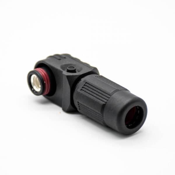 高压连接器弯式6mm插头插座IP65 100A黑色带孔铜牌