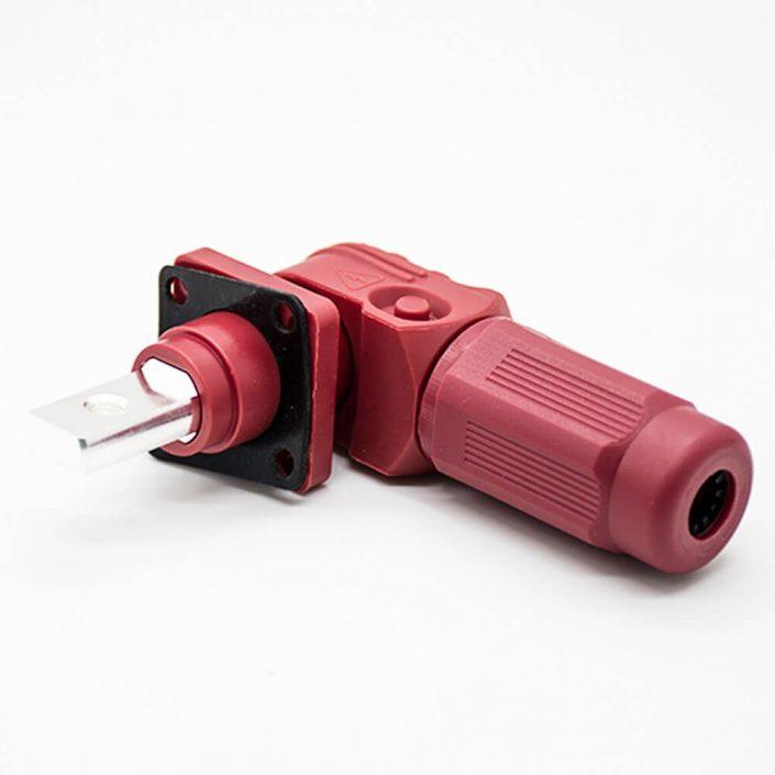 单芯大电流连接器弯式插头和插座6mm红色IP65 60A带孔铜牌