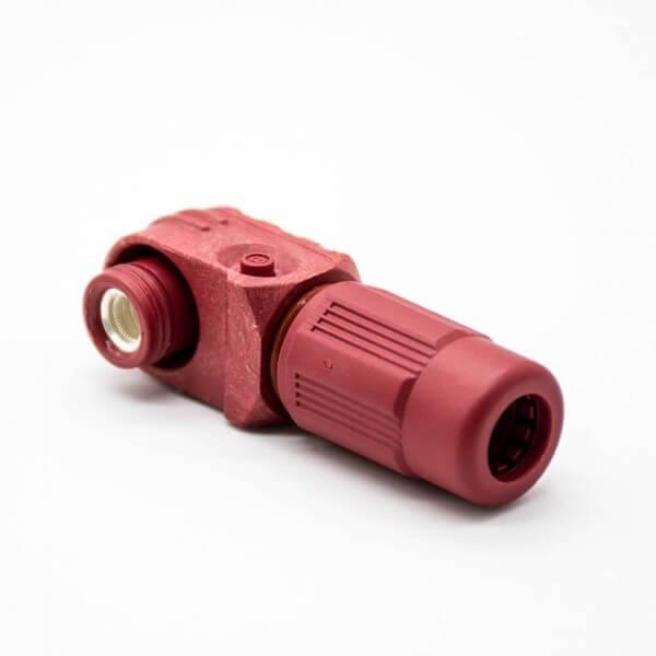 储能连接器IP65 100A带孔铜牌弯式6mm红色插头插座