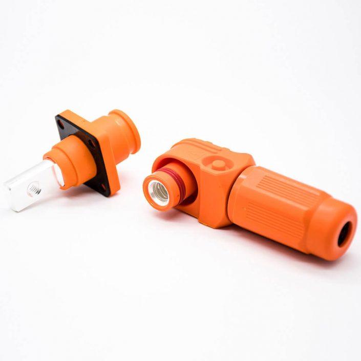 新能源汽车换电连接器弯式8mm橙色IP65 200A插头插座对接款