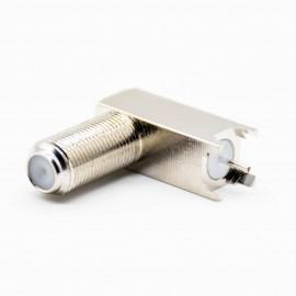 外螺纹F头连接器母头弯式PCB板安装插孔加高型螺纹连接