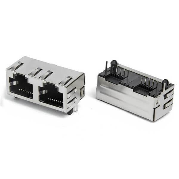 双网口RJ45插座水晶头插口网络通讯接口国标耐高温母座连接器
