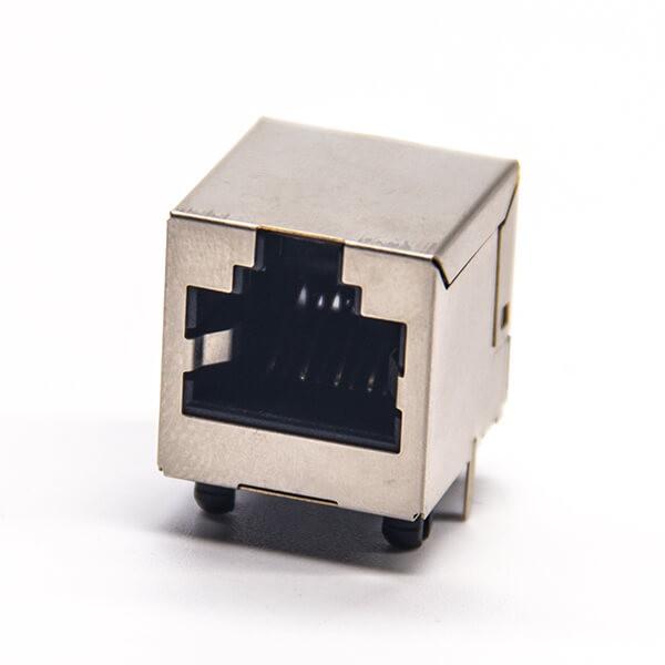 rj45接口直式母座DIP式接PCB板带屏蔽插座8p8c