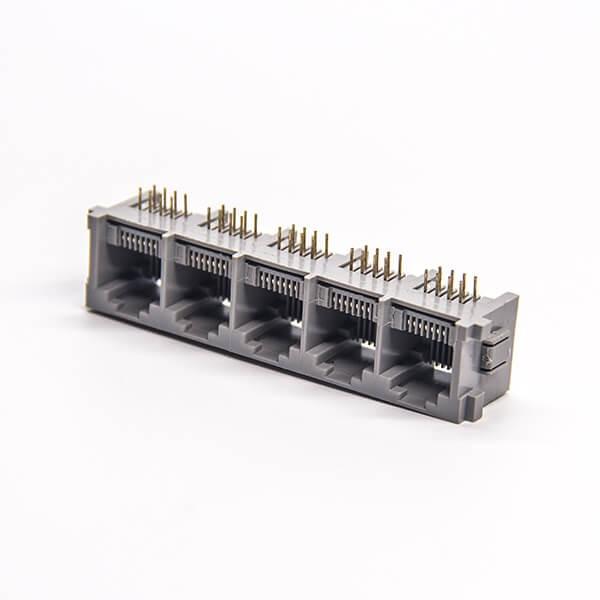 rj45模块连接器弯式1x5母座8p8c插板接PCB板不带屏蔽