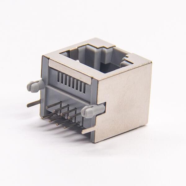 rj45连接器8p8c弯式插PCB板带屏蔽不带灯