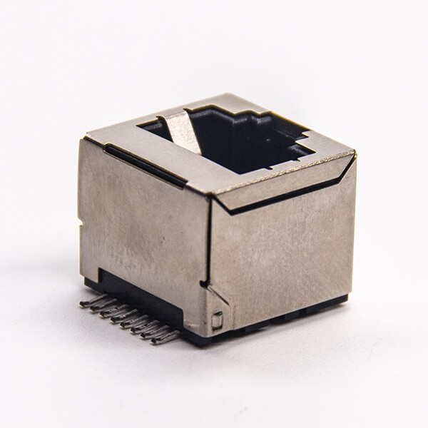 rj45屏蔽插座直式smt贴板式接PCB板不带灯