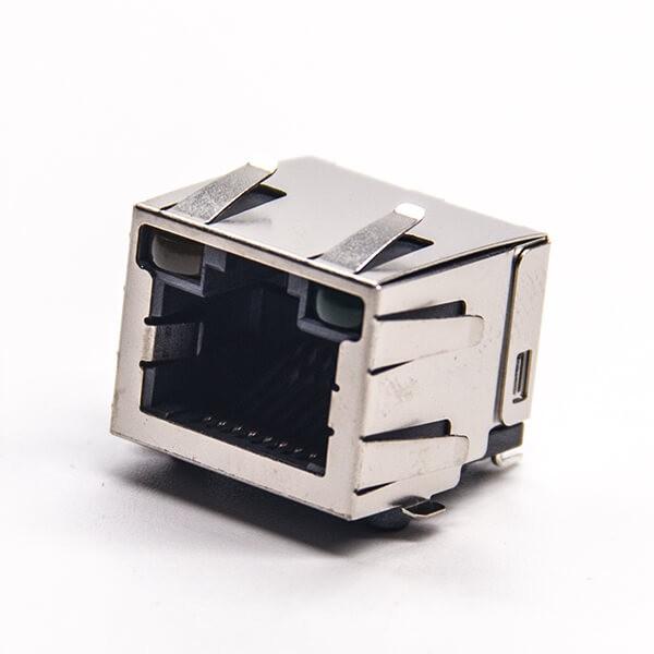 带灯rj45屏蔽插座90度smt接PCB板带灯带弹片
