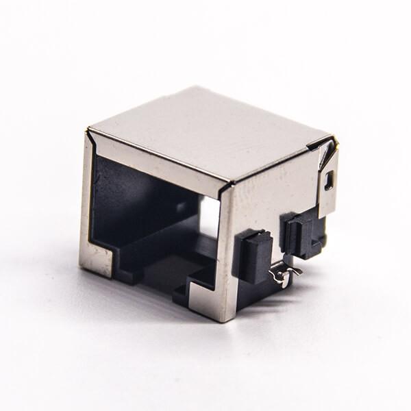沉板rj45弯式母头SMT接PCB板不带灯